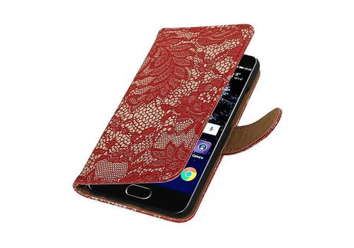 Lace Bookstyle Hoes voor Huawei P10 Rood