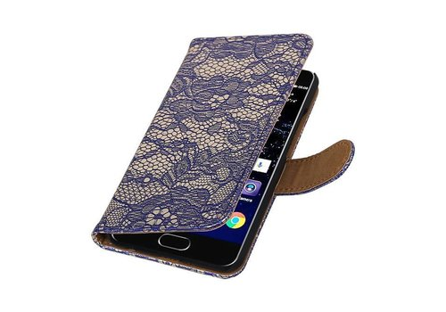 Lace Bookstyle Hoes voor Huawei P10 Blauw