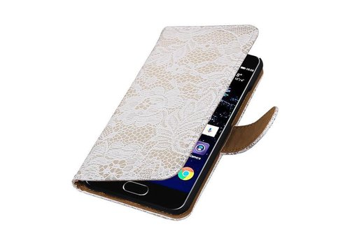 Lace Bookstyle Hoes voor Huawei P10 Wit