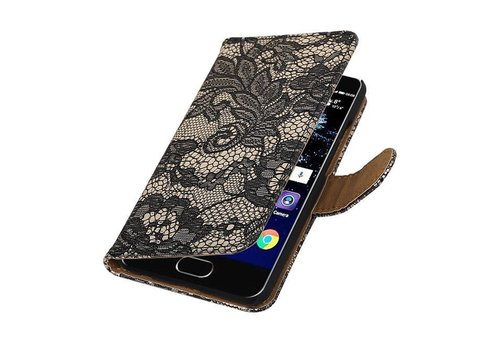 Lace Bookstyle Hoes voor Huawei P10 Zwart