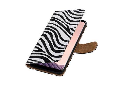Zebra Bookstyle Hoesje voor Galaxy S8 Plus Wit