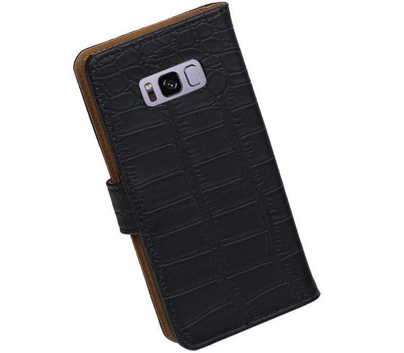 Croco Bookstyle Hoesje voor Galaxy S8 Plus Zwart