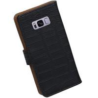 Croco Bookstyle Hoesje voor Galaxy S8 Zwart