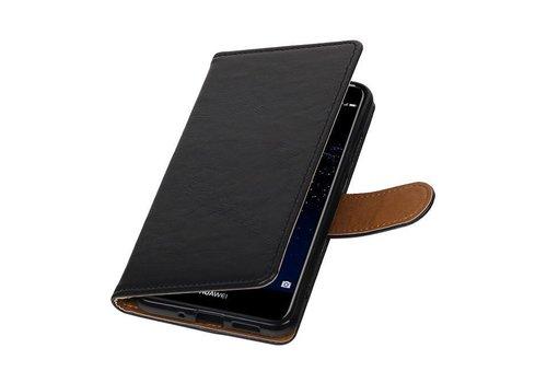 Pull Up TPU PU Leder Bookstyle voor Huawei P10 Lite Zwart