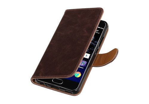 Pull Up TPU PU Leder Bookstyle voor Huawei P10 Mocca