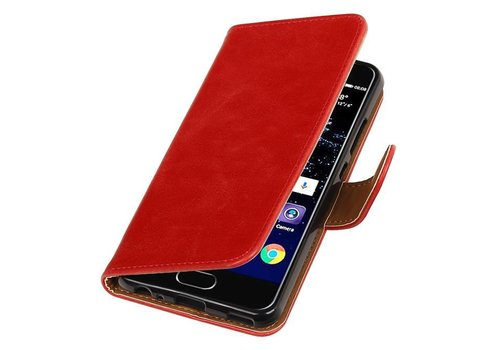 Pull Up TPU PU Leder Bookstyle voor Huawei P10 Rood