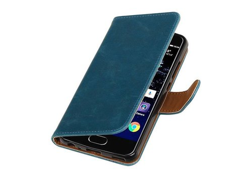 Pull Up TPU PU Leder Bookstyle voor Huawei P10 Blauw