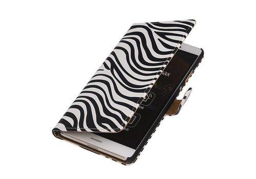 Zebra Bookstyle Hoes voor Huawei P10 Plus Wit