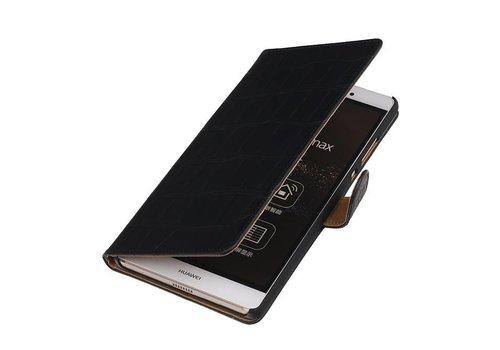 Croco Bookstyle Hoes voor Huawei P10 Plus Zwart