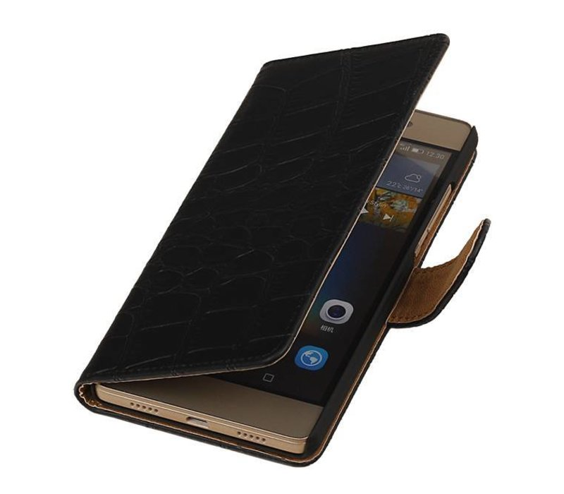 Croco Bookstyle Hoes voor Huawei P10 Lite Zwart