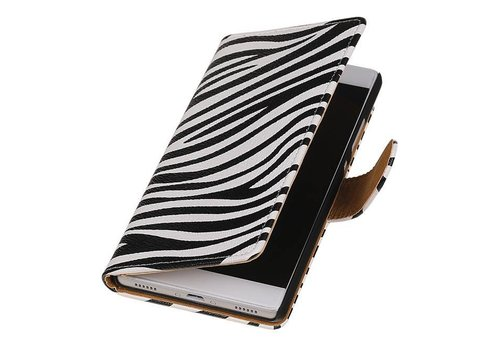 Zebra Bookstyle Hoes voor Huawei P10 Wit