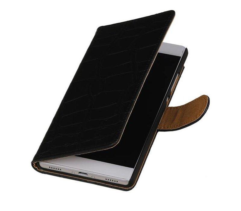 Croco Bookstyle Hoes voor Huawei P10 Zwart