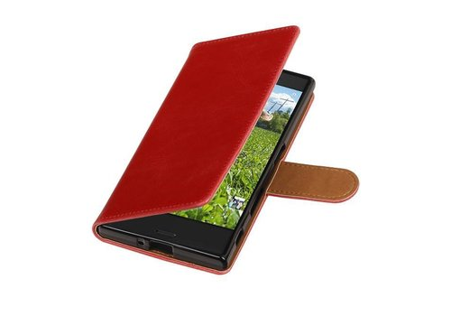 Pull Up TPU PU Leder Bookstyle voor Xperia XZ Rood
