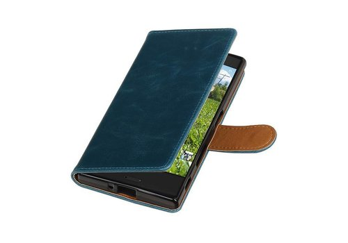 Pull Up TPU PU Leder Bookstyle voor Xperia XZ Blauw