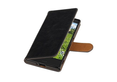 Pull Up TPU PU Leder Bookstyle voor Xperia XZ Zwart