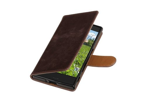 Pull Up TPU PU Leder Bookstyle voor Xperia XZ Mocca