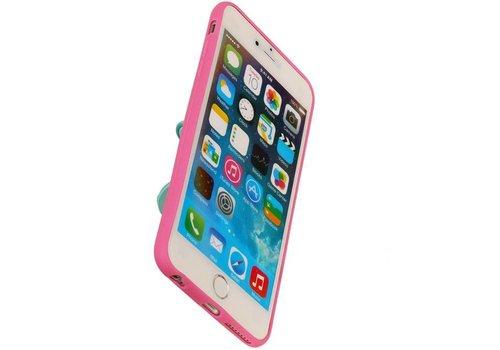 Vlinder Standing TPU Case voor iPhone 6 Plus Roze
