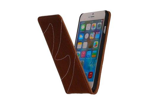 Washed Leer Flip Hoes voor iPhone 6 Bruin