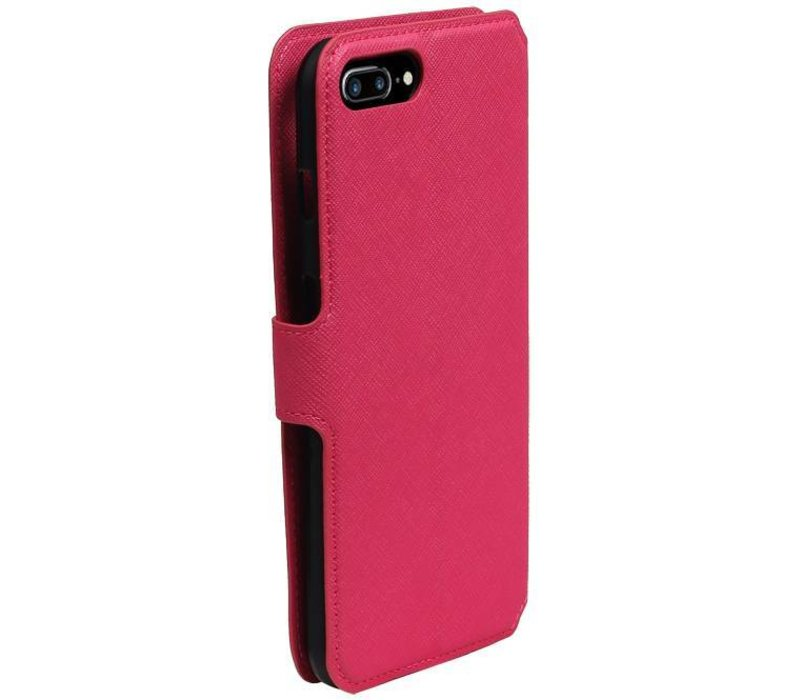 Cross Pattern TPU Bookstyle voor iPhone 7 Plus Roze