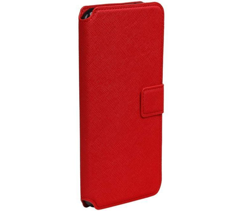 Cross Pattern TPU Bookstyle voor iPhone 7 Plus Rood