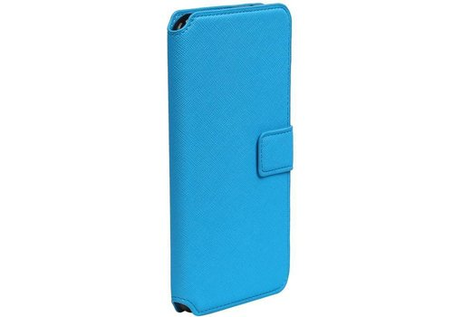 Cross Pattern TPU Bookstyle voor iPhone 7 Plus Blauw