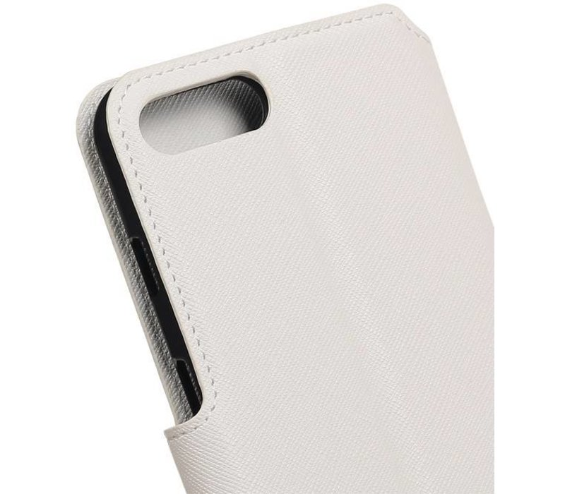 Cross Pattern TPU Bookstyle voor iPhone 7 Plus Wit