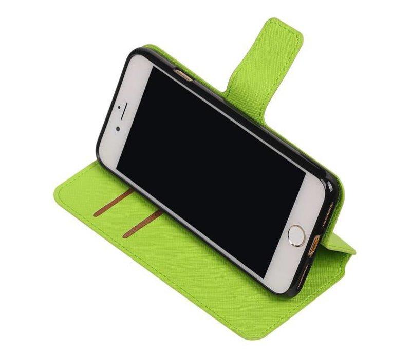 Cross Pattern TPU Bookstyle voor iPhone 7 Groen