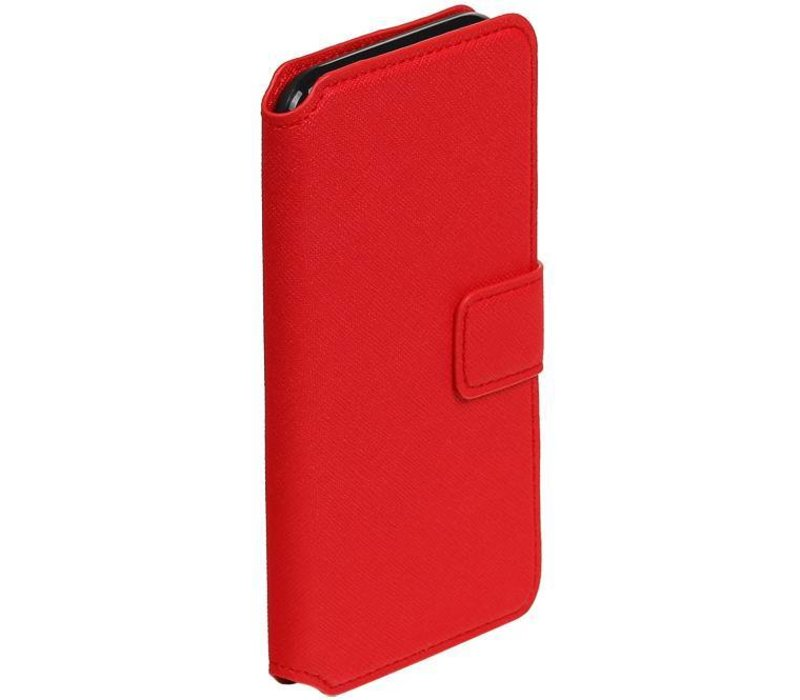 Cross Pattern TPU Bookstyle voor iPhone 7 Rood