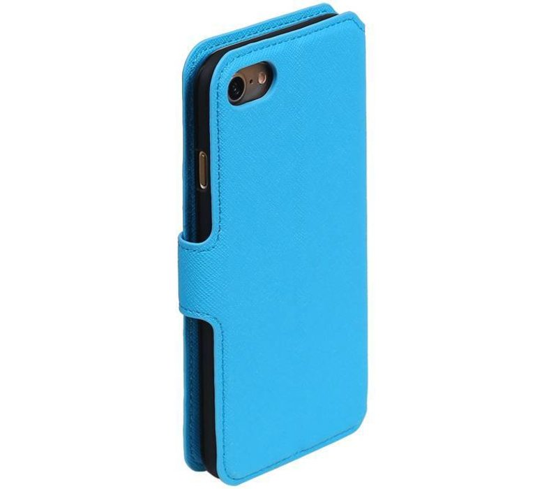 Cross Pattern TPU Bookstyle voor iPhone 7 Blauw