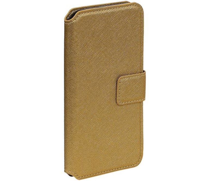 Cross Pattern TPU Bookstyle voor iPhone 6/6s Goud