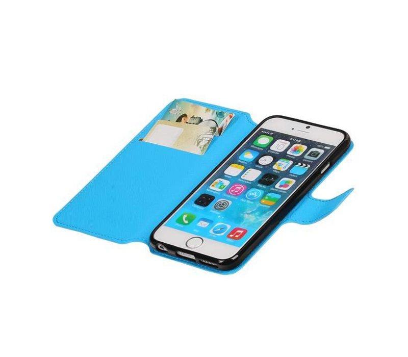 Cross Pattern TPU Bookstyle voor iPhone 6/6s Blauw