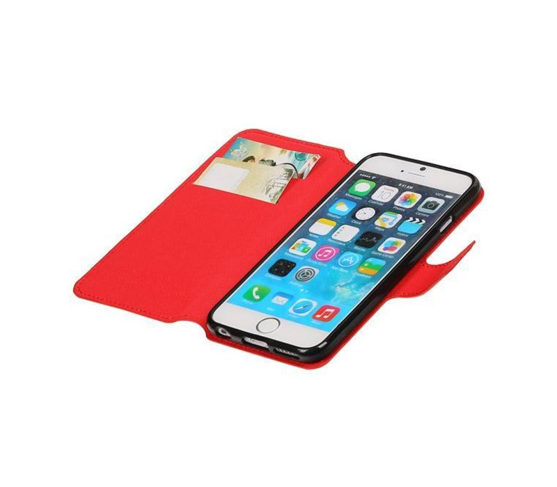 Cross Pattern TPU Bookstyle voor iPhone 6/6s Rood
