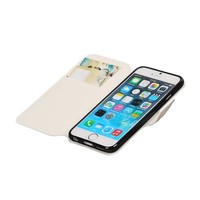 Cross Pattern TPU Bookstyle voor iPhone 6/6s Wit