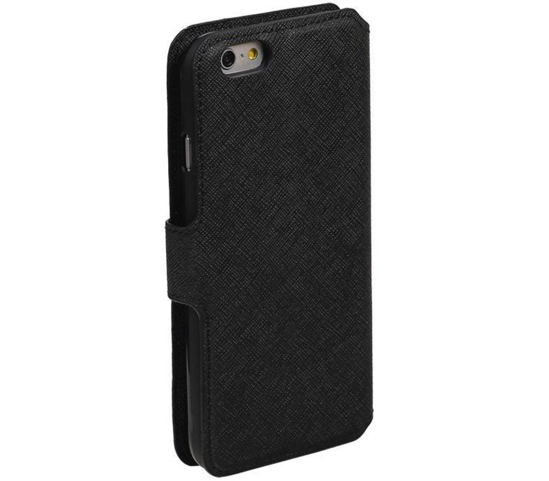 Cross Pattern TPU Bookstyle voor iPhone 6/6s Zwart