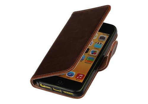 Pull Up TPU PU Leder Bookstyle voor iPhone SE Mocca