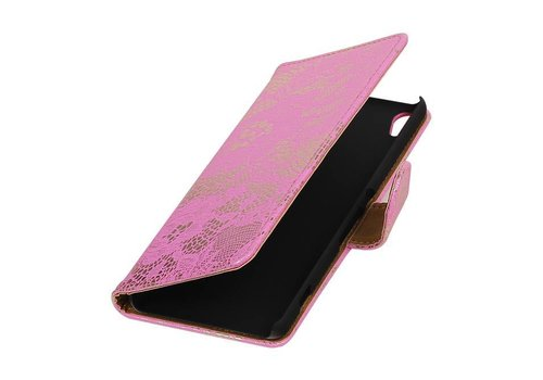 Lace Bookstyle Hoes voor Sony Xperia X Performance Roze