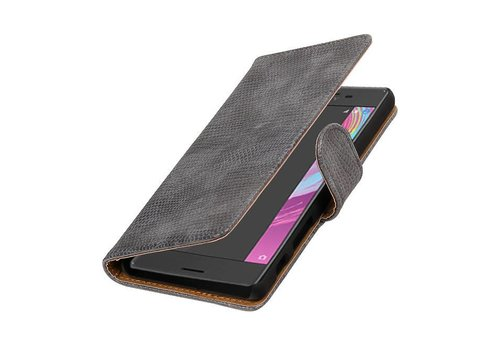 Lizard Bookstyle Hoes voor Sony Xperia X Performance Grijs