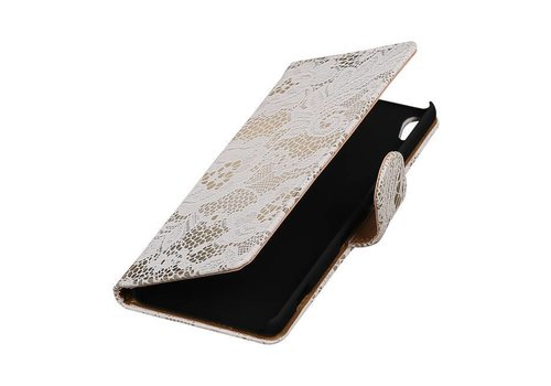 Lace Bookstyle Hoes voor Sony Xperia X Performance Wit