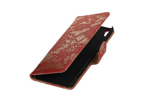 Lace Bookstyle Hoes voor Sony Xperia X Performance Rood