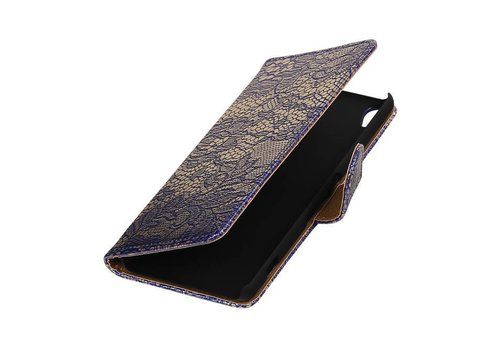 Lace Bookstyle Hoes voor Sony Xperia X Performance Blauw