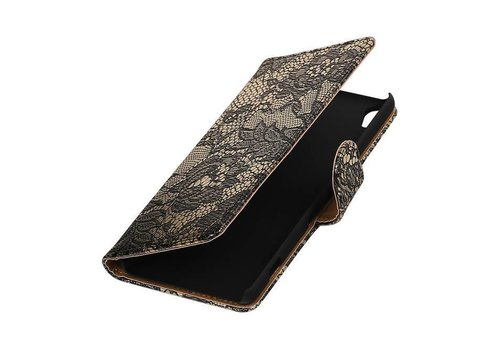 Lace Bookstyle Hoes voor Sony Xperia X Performance Zwart