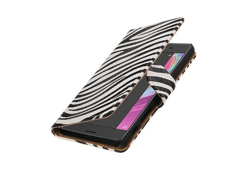 Zebra Bookstyle Hoes voor Sony Xperia X Performance Wit