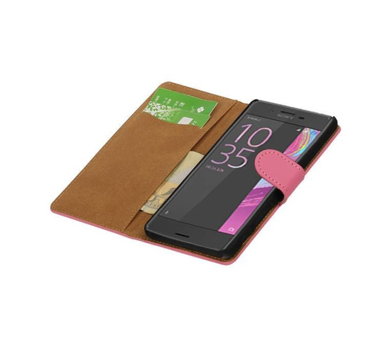 Bookstyle Hoes voor Sony Xperia X Performance Roze