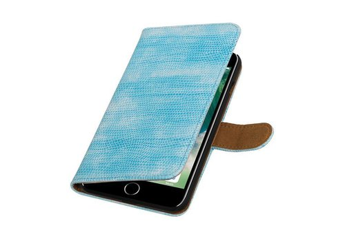 Lizard Bookstyle Hoes voor iPhone 7 Plus Turquoise