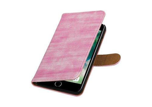 Lizard Bookstyle Hoes voor iPhone 7 Plus Roze