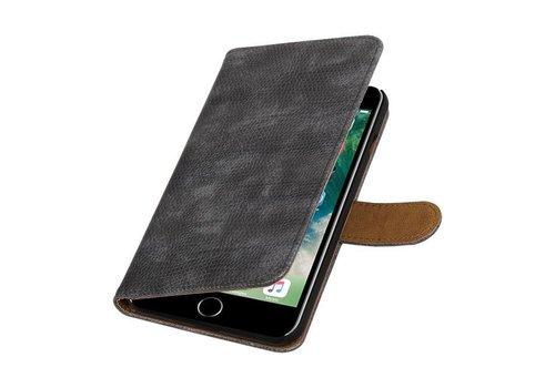 Lizard Bookstyle Hoes voor iPhone 7 Plus Grijs