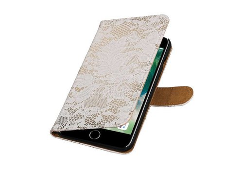 Lace Bookstyle Hoes voor iPhone 7 Plus Wit