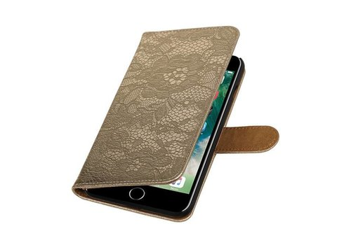 Lace Bookstyle Hoes voor iPhone 7 Plus Goud