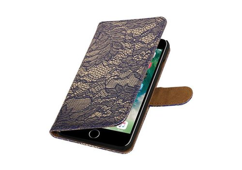 Lace Bookstyle Hoes voor iPhone 7 Plus Blauw