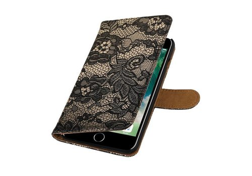 Lace Bookstyle Hoes voor iPhone 7 Plus Zwart